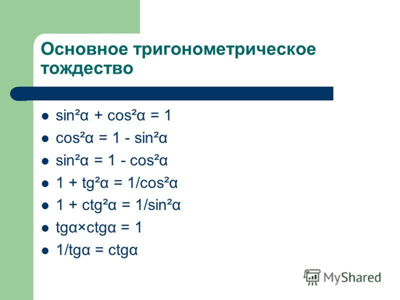 Основное тригонометрическое тождество sin²α + cos²α = 1 cos²α = 1 - sin²α sin²α = 1 - cos²α 1 + tg²α = 1/cos²α 1 + ctg²α = 1/sin²α tgα×ctgα = 1 1/tgα = ctgα