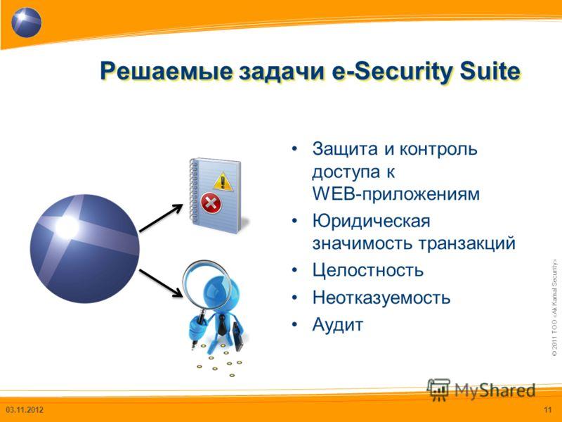 © 2011 ТОО «Ak Kamal Security» Решаемые задачи e-Security Suite 03.11.201211 Защита и контроль доступа к WEB-приложениям Юридическая значимость транзакций Целостность Неотказуемость Аудит