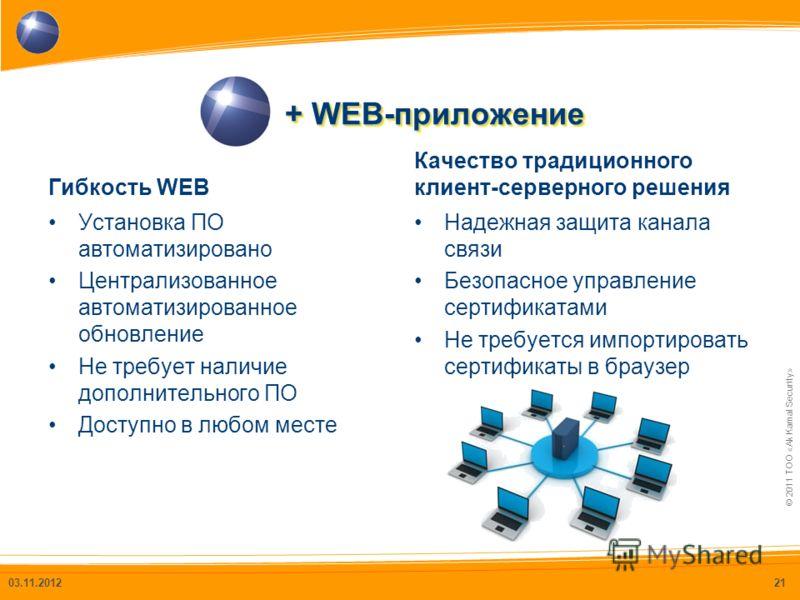 © 2011 ТОО «Ak Kamal Security» + WEB-приложение Гибкость WEB Установка ПО автоматизировано Централизованное автоматизированное обновление Не требует наличие дополнительного ПО Доступно в любом месте Качество традиционного клиент-серверного решения На