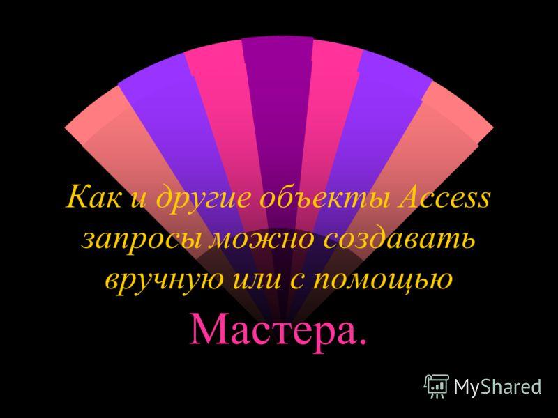 Как и другие объекты Access запросы можно создавать вручную или с помощью Мастера.