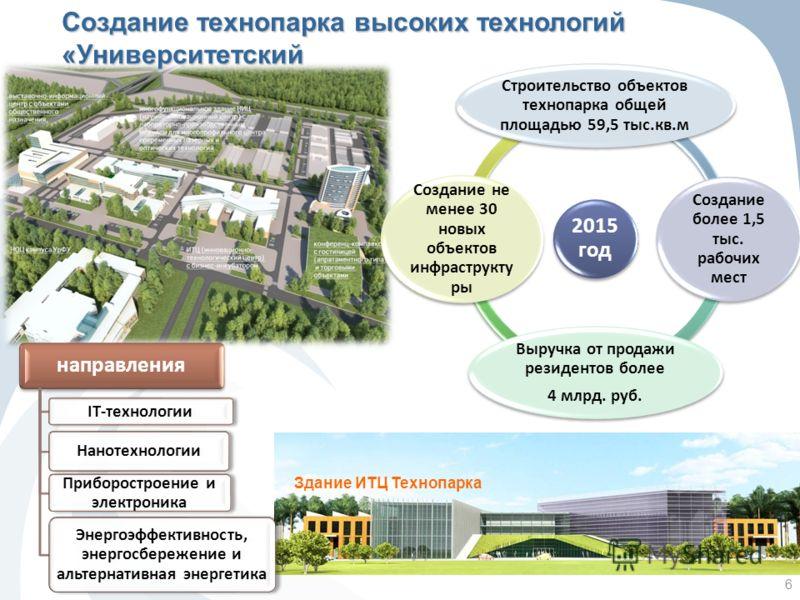 6 Здание ИТЦ Технопарка 2015 год Строительство объектов технопарка общей площадью 59,5 тыс.кв.м Создание более 1,5 тыс. рабочих мест Выручка от продажи резидентов более 4 млрд. руб. Создание не менее 30 новых объектов инфраструкту ры направления IT-т