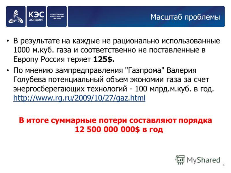 Масштаб проблемы В результате на каждые не рационально использованные 1000 м.куб. газа и соответственно не поставленные в Европу Россия теряет 125$. По мнению зампредправления