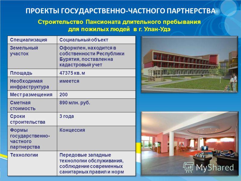 ПРОЕКТЫ ГОСУДАРСТВЕННО-ЧАСТНОГО ПАРТНЕРСТВА Строительство Пансионата длительного пребывания для пожилых людей в г. Улан-Удэ