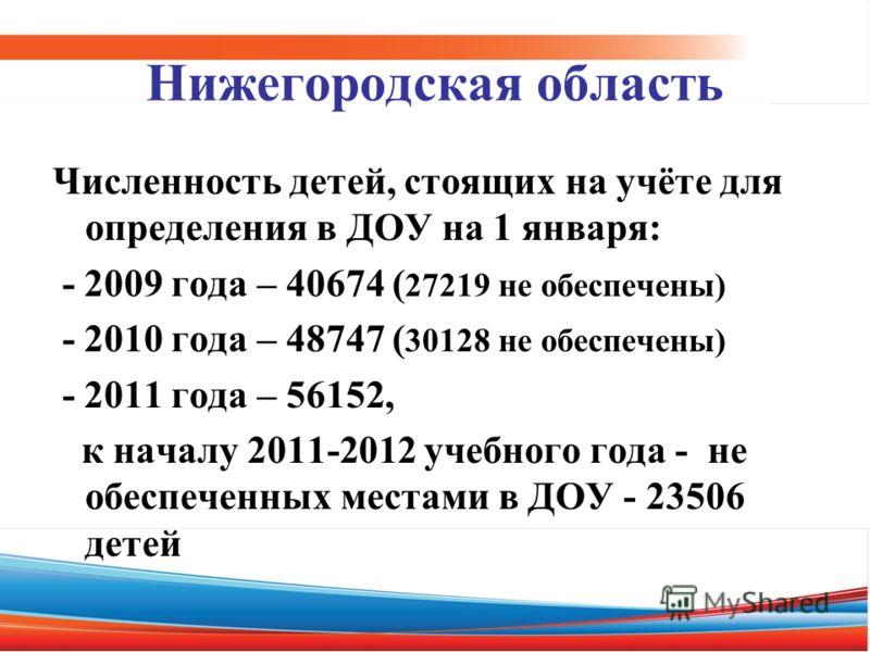 Нижегородская область Численность детей, стоящих на учёте для определения в ДОУ на 1 января: - 2009 года – 40674 ( 27219 не обеспечены) - 2010 года – 48747 ( 30128 не обеспечены) - 2011 года – 56152, к началу 2011-2012 учебного года - не обеспеченных