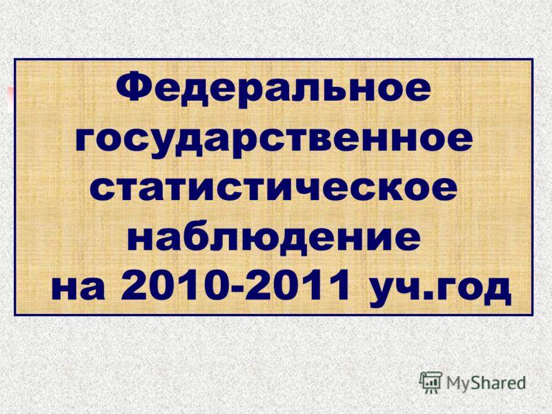 Федеральное государственное статистическое наблюдение на 2010-2011 уч.год