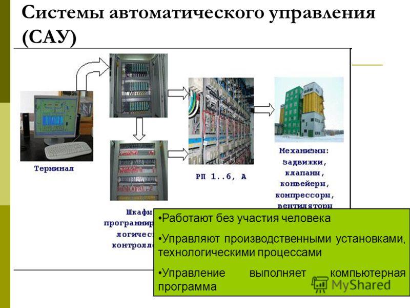 Системы автоматического управления (САУ) Работают без участия человека Управляют производственными установками, технологическими процессами Управление выполняет компьютерная программа