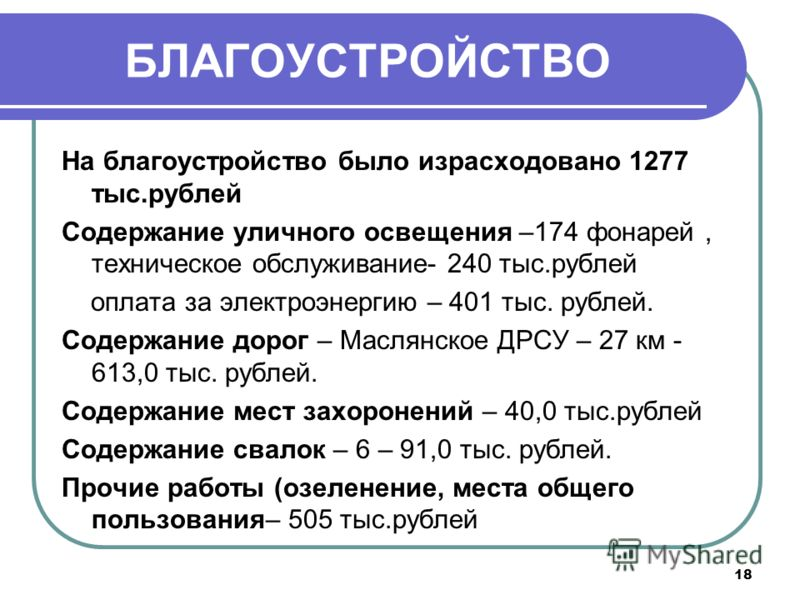18 БЛАГОУСТРОЙСТВО На благоустройство было израсходовано 1277 тыс.рублей Содержание уличного освещения –174 фонарей, техническое обслуживание- 240 тыс.рублей оплата за электроэнергию – 401 тыс. рублей. Содержание дорог – Маслянское ДРСУ – 27 км - 613