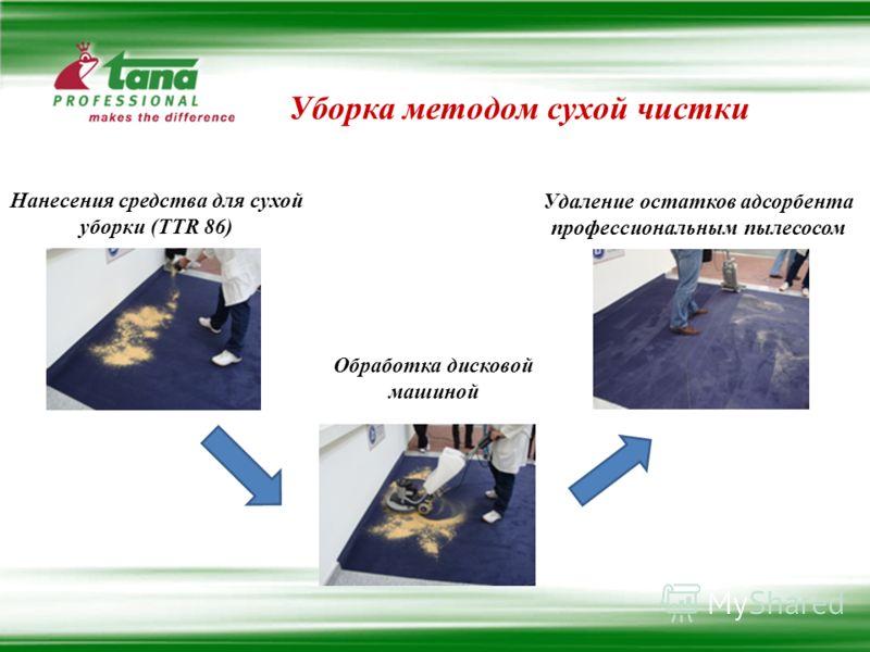 Уборка методом сухой чистки Нанесения средства для сухой уборки (TTR 86) Обработка дисковой машиной Удаление остатков адсорбента профессиональным пылесосом