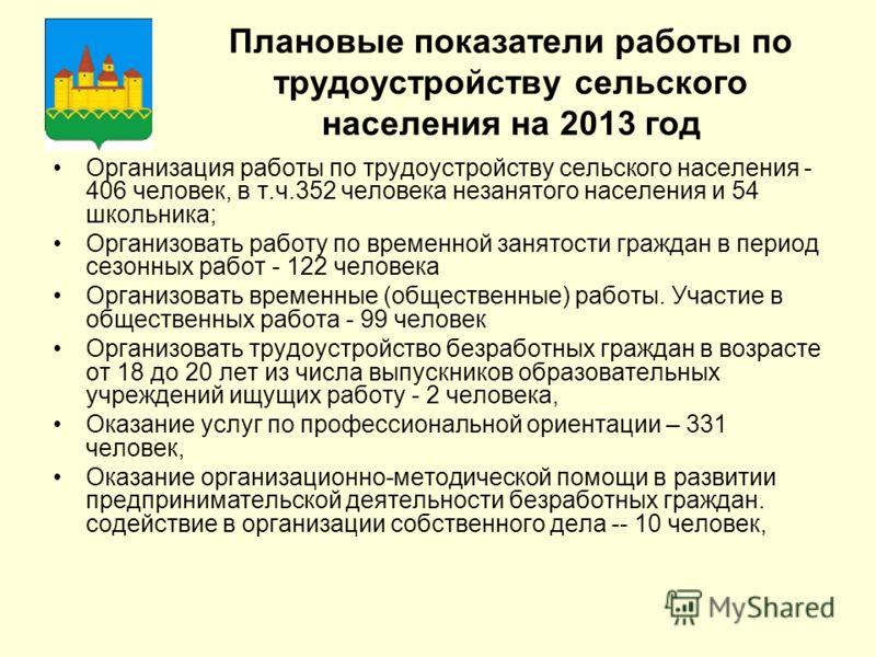 Плановые показатели работы по трудоустройству сельского населения на 2013 год Организация работы по трудоустройству сельского населения - 406 человек, в т.ч.352 человека незанятого населения и 54 школьника; Организовать работу по временной занятости