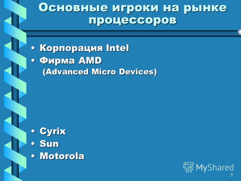 7 Основные игроки на рынке процессоров Корпорация IntelКорпорация Intel Фирма AMDФирма AMD (Advanced Micro Devices) CyrixCyrix SunSun MotorolaMotorola