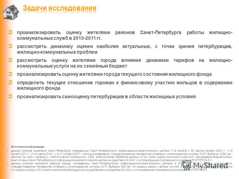 проанализировать оценку жителями районов Санкт-Петербурга работы жилищно- коммунальных служб в 2010-2011 гг. рассмотреть динамику оценки наиболее актуальных, с точки зрения петербуржцев, жилищно-коммунальных проблем рассмотреть оценку жителями города