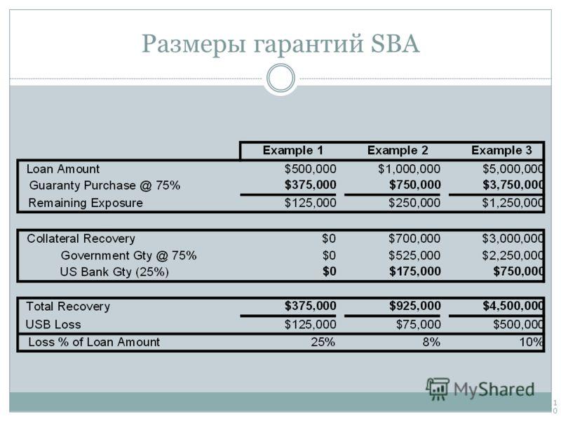 Размеры гарантий SBA 10