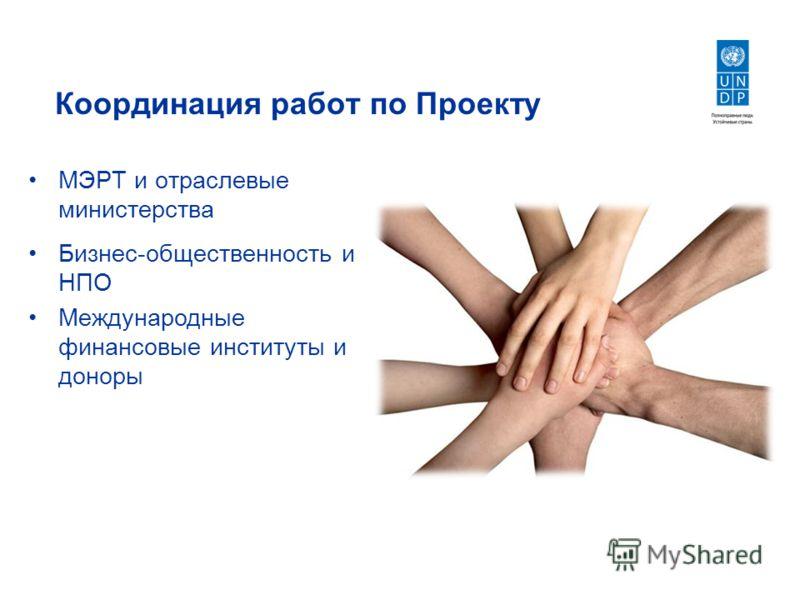 Координация работ по Проекту МЭРТ и отраслевые министерства Бизнес-общественность и НПО Международные финансовые институты и доноры