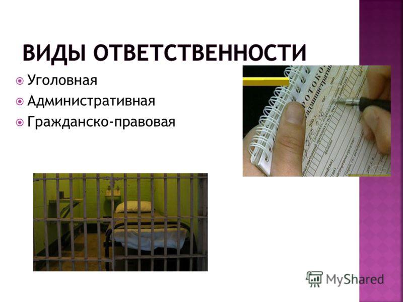 Уголовная Административная Гражданско-правовая