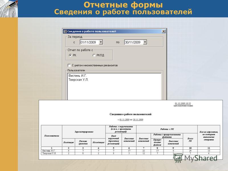 Отчетные формы Сведения о работе пользователей