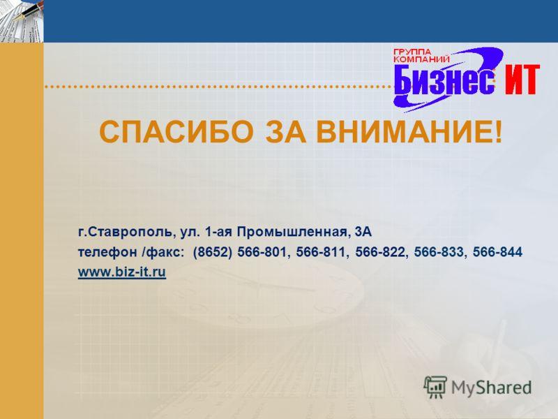 СПАСИБО ЗА ВНИМАНИЕ! г.Ставрополь, ул. 1-ая Промышленная, 3А телефон /факс: (8652) 566-801, 566-811, 566-822, 566-833, 566-844 www.biz-it.ru