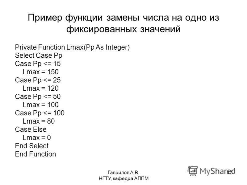 Гаврилов А.В. НГТУ, кафедра АППМ 37 Пример функции замены числа на одно из фиксированных значений Private Function Lmax(Pp As Integer) Select Case Pp Case Pp