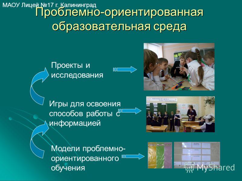 МАОУ Лицей 17 г. Калининград Проблемно-ориентированная образовательная среда Игры для освоения способов работы с информацией Проекты и исследования Модели проблемно- ориентированного обучения
