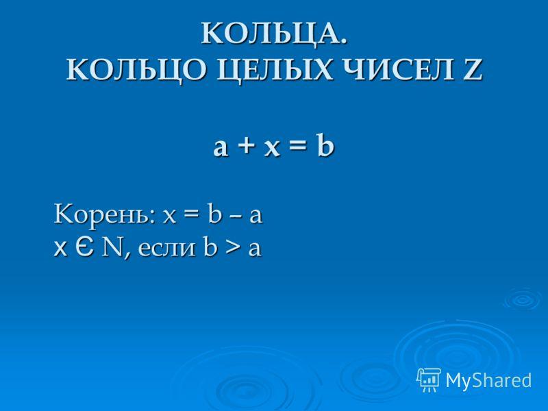 КОЛЬЦА. КОЛЬЦО ЦЕЛЫХ ЧИСЕЛ Z a + x = b Корень: x = b – a x Є N, если b > a
