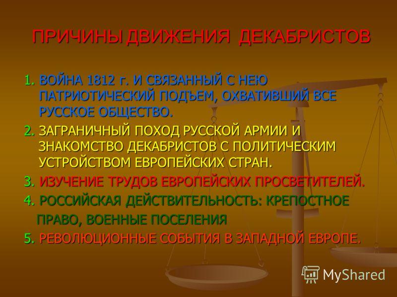 ПРИЧИНЫ ДВИЖЕНИЯ ДЕКАБРИСТОВ ПРИЧИНЫ ДВИЖЕНИЯ ДЕКАБРИСТОВ 1. ВОЙНА 1812 г. И СВЯЗАННЫЙ С НЕЮ ПАТРИОТИЧЕСКИЙ ПОДЪЕМ, ОХВАТИВШИЙ ВСЕ РУССКОЕ ОБЩЕСТВО. 2. ЗАГРАНИЧНЫЙ ПОХОД РУССКОЙ АРМИИ И ЗНАКОМСТВО ДЕКАБРИСТОВ С ПОЛИТИЧЕСКИМ УСТРОЙСТВОМ ЕВРОПЕЙСКИХ СТ