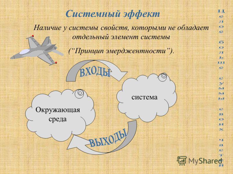 система Системный эффект Наличие у системы свойств, которыми не обладает отдельный элемент системы (Принцип эмерджентности). Окружающая среда