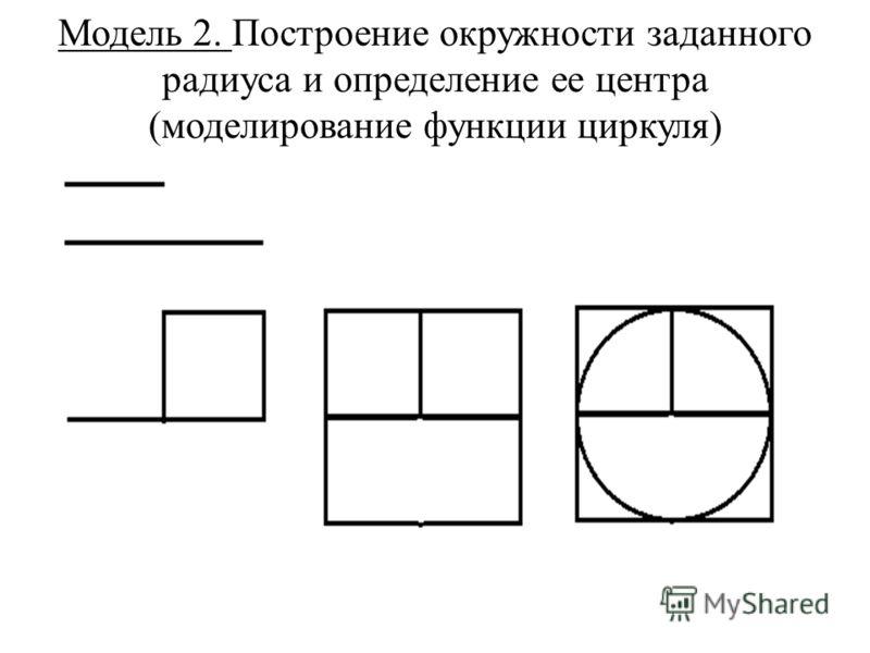 Модель 2. Построение окружности заданного радиуса и определение ее центра (моделирование функции циркуля)