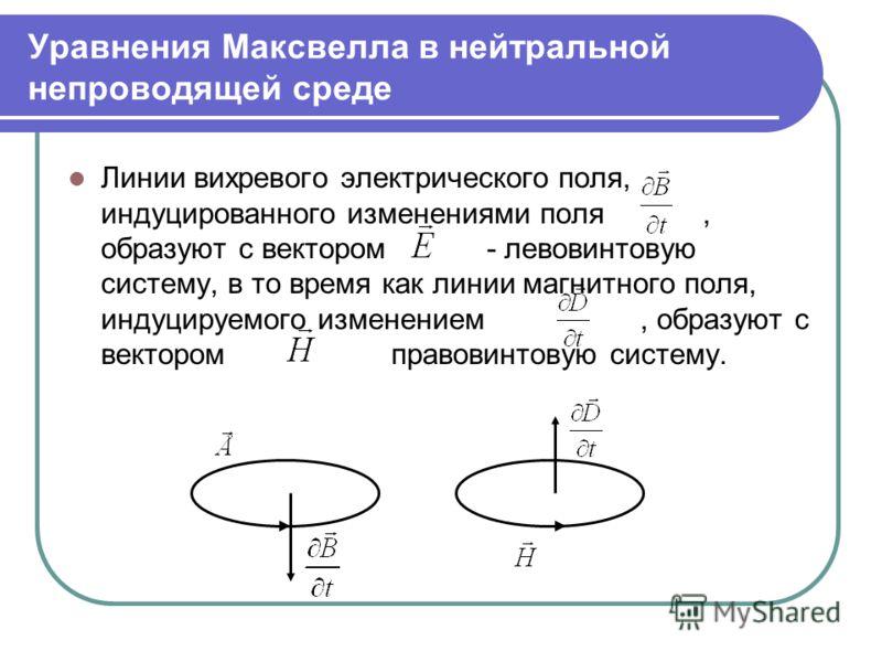 Уравнения Максвелла в нейтральной непроводящей среде Линии вихревого электрического поля, индуцированного изменениями поля, образуют с вектором - левовинтовую систему, в то время как линии магнитного поля, индуцируемого изменением, образуют с векторо