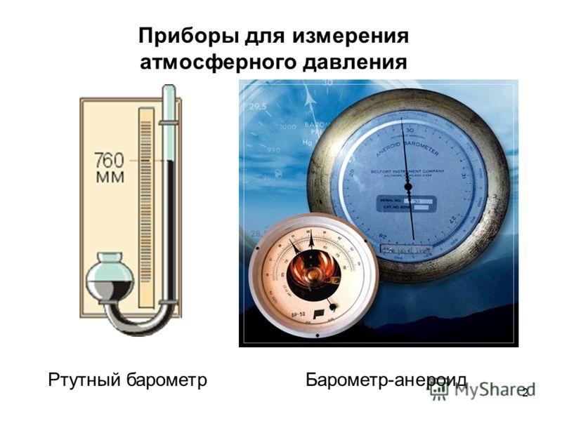 2 Приборы для измерения атмосферного давления Ртутный барометрБарометр-анероид