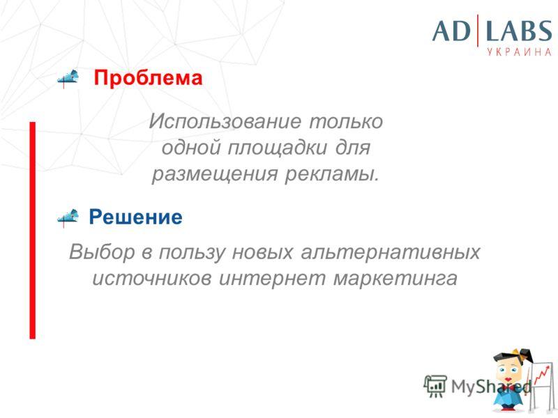 Проблема Решение Использование только одной площадки для размещения рекламы. Выбор в пользу новых альтернативных источников интернет маркетинга