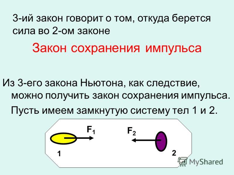 Закон сохранения импульса Из 3-его закона Ньютона, как следствие, можно получить закон сохранения импульса. Пусть имеем замкнутую систему тел 1 и 2. 1 F1F1 F2F2 2 3-ий закон говорит о том, откуда берется сила во 2-ом законе