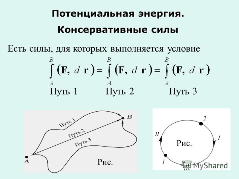 Потенциальная энергия. Консервативные силы Есть силы, для которых выполняется условие Путь 1 Путь 2 Путь 3 Рис.