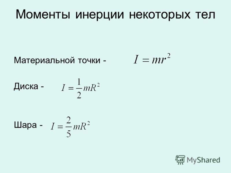 Моменты инерции некоторых тел Материальной точки - Диска - Шара -