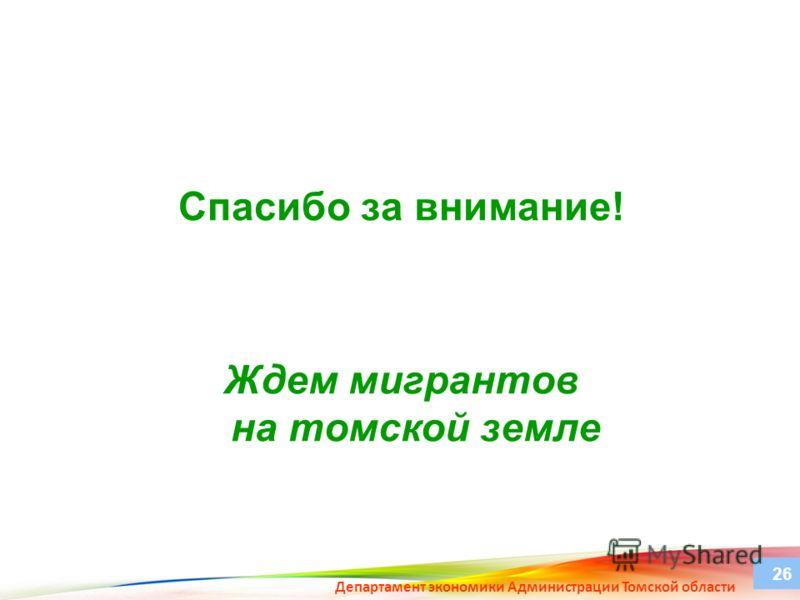 Спасибо за внимание! Ждем мигрантов на томской земле Департамент экономики Администрации Томской области 26