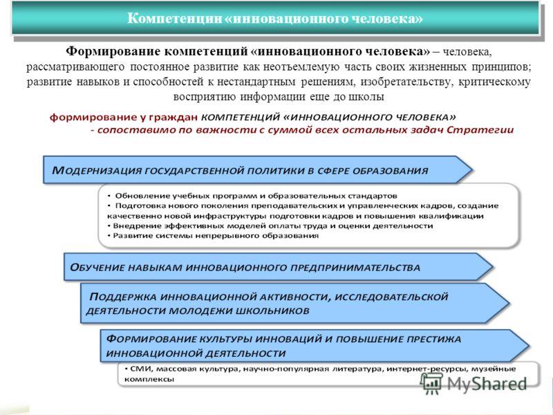 Компетенции «инновационного человека» Департамент экономики Администрации Томской области 4 Формирование компетенций «инновационного человека» – человека, рассматривающего постоянное развитие как неотъемлемую часть своих жизненных принципов; развитие