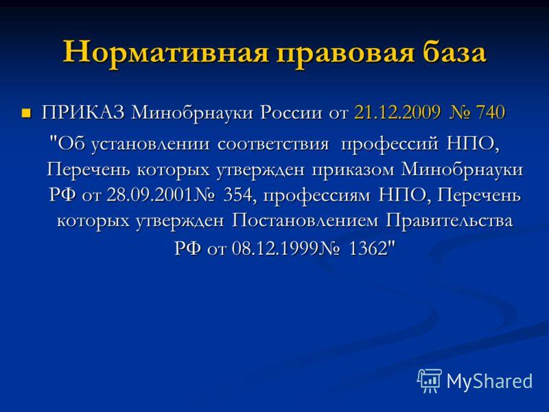 Нормативная правовая база ПРИКАЗ Минобрнауки России от 21.12.2009 740 ПРИКАЗ Минобрнауки России от 21.12.2009 740