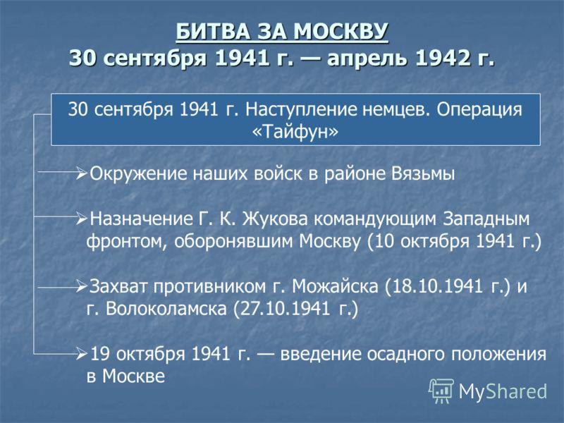БИТВА ЗА МОСКВУ 30 сентября 1941 г. апрель 1942 г. 30 сентября 1941 г. Наступление немцев. Операция «Тайфун» Окружение наших войск в районе Вязьмы Назначение Г. К. Жукова командующим Западным фронтом, оборонявшим Москву (10 октября 1941 г.) Захват пр