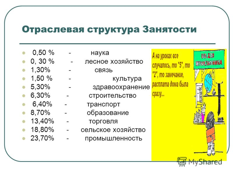 Отраслевая структура Занятости 0,50 % - наука 0, 30 % - лесное хозяйство 1,30% - связь 1,50 % - культура 5,30% - здравоохранение 6,30% - строительство 6,40% - транспорт 8,70% - образование 13,40% - торговля 18,80% - сельское хозяйство 23,70% - промыш