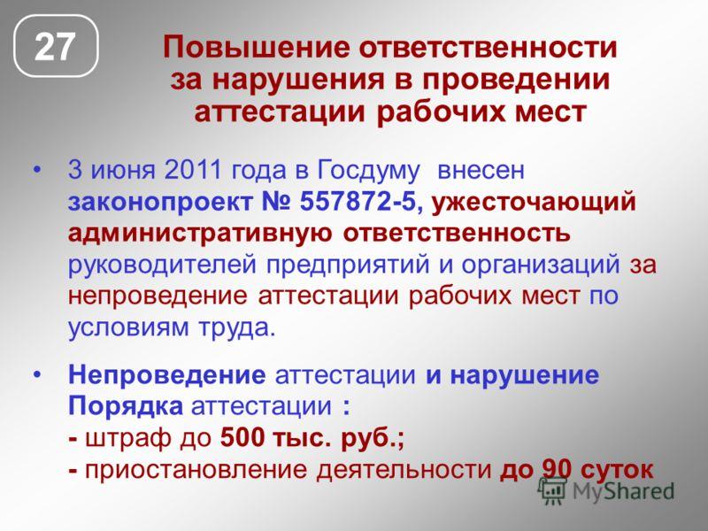 Повышение ответственности за нарушения в проведении аттестации рабочих мест 3 июня 2011 года в Госдуму внесен законопроект 557872-5, ужесточающий административную ответственность руководителей предприятий и организаций за непроведение аттестации рабо