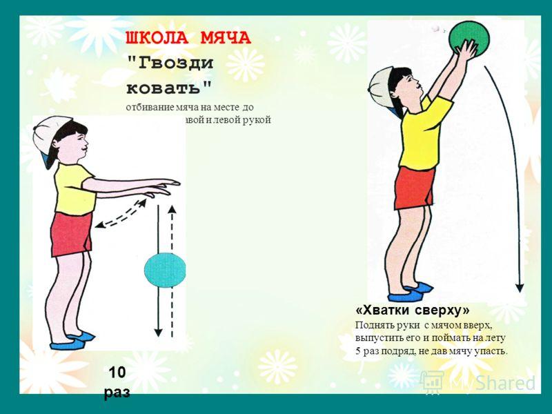 «Хватки сверху» Поднять руки с мячом вверх, выпустить его и поймать на лету 5 раз подряд, не дав мячу упасть. ШКОЛА МЯЧА Гвозди ковать отбивание мяча на месте до 10-ти раз правой и левой рукой 10 раз