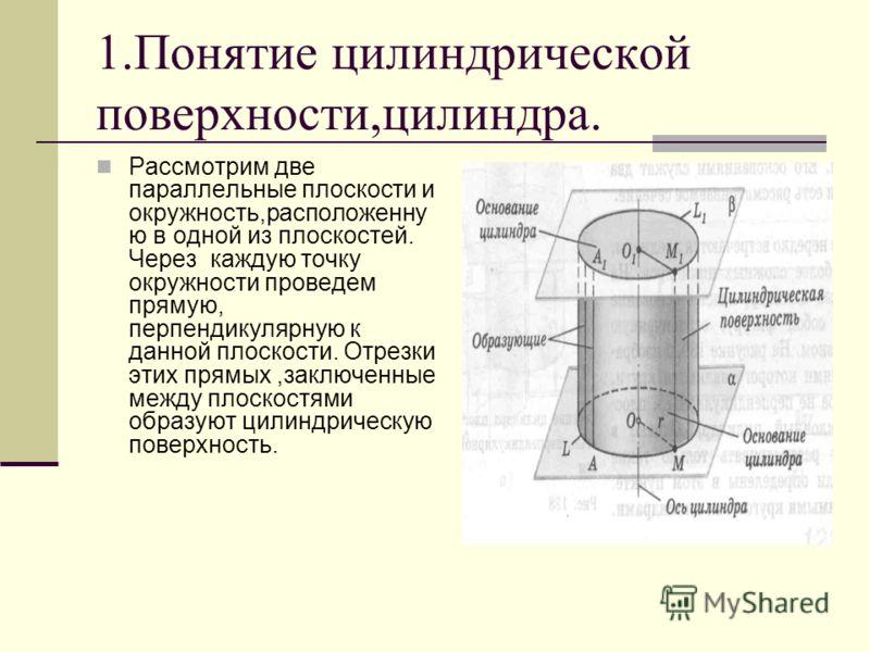 1.Понятие цилиндрической поверхности,цилиндра. Рассмотрим две параллельные плоскости и окружность,расположенну ю в одной из плоскостей. Через каждую точку окружности проведем прямую, перпендикулярную к данной плоскости. Отрезки этих прямых,заключенны