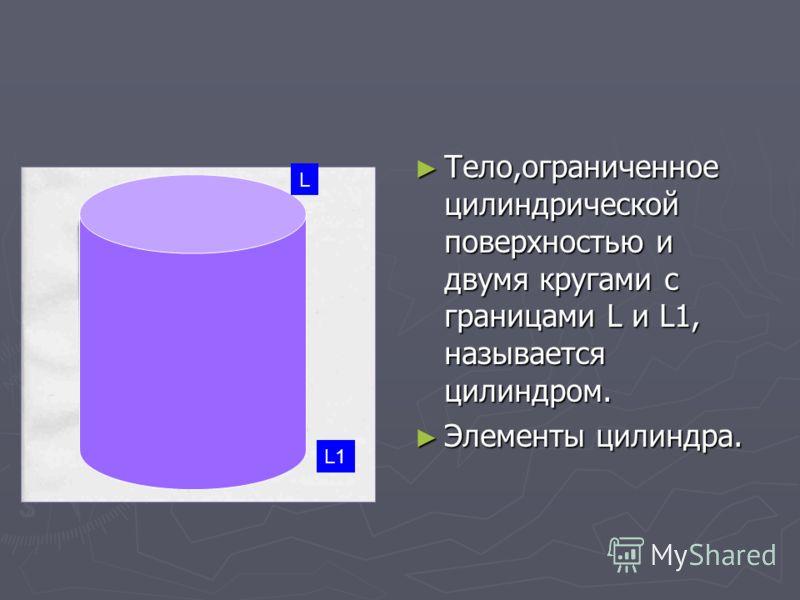 Тело,ограниченное цилиндрической поверхностью и двумя кругами с границами L и L1, называется цилиндром. Элементы цилиндра. L L1