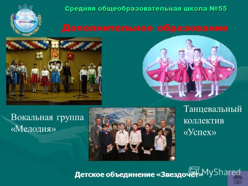 Средняя общеобразовательная школа 55 Дополнительное образование Танцевальный коллектив «Успех» Вокальная группа «Мелодия» Детское объединение «Звездочёт»