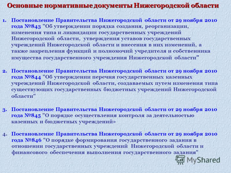 1.Постановление Правительства Нижегородской области от 29 ноября 2010 года 843