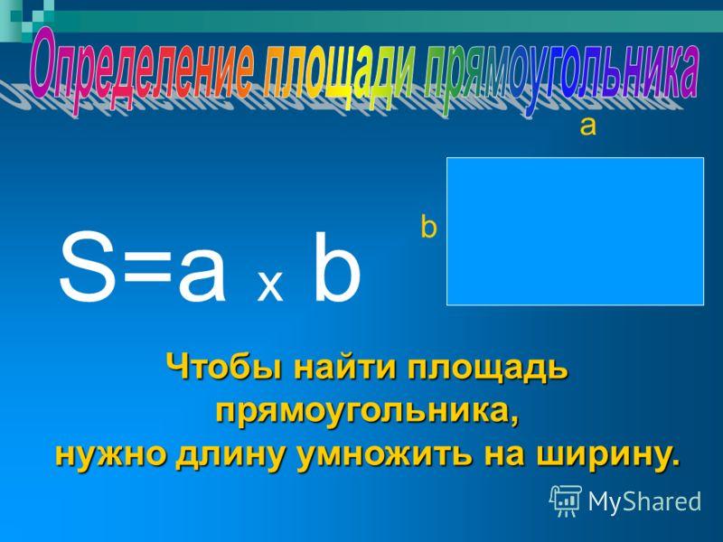 S=a x b a b Чтобы найти площадь прямоугольника, нужно длину умножить на ширину.