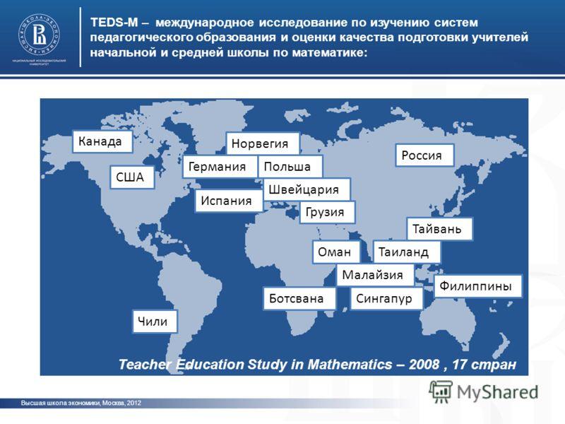 Канада США Чили Норвегия ПольшаГермания Испания Швейцария Грузия Россия Ботсвана Оман Тайвань Таиланд Малайзия Сингапур Филиппины TEDS-M – международное исследование по изучению систем педагогического образования и оценки качества подготовки учителей
