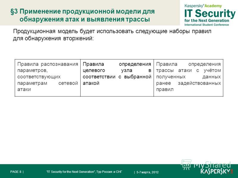 §3 Применение продукционной модели для обнаружения атак и выявления трассы | 5-7 марта, 2012 PAGE 8 |