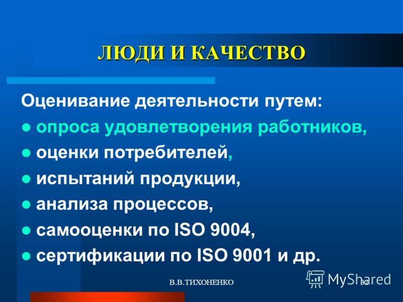 В.В.ТИХОНЕНКО32 ЛЮДИ И КАЧЕСТВО Оценивание деятельности путем: опроса удовлетворения работников, оценки потребителей, испытаний продукции, анализа процессов, самооценки по ISO 9004, сертификации по ISO 9001 и др.