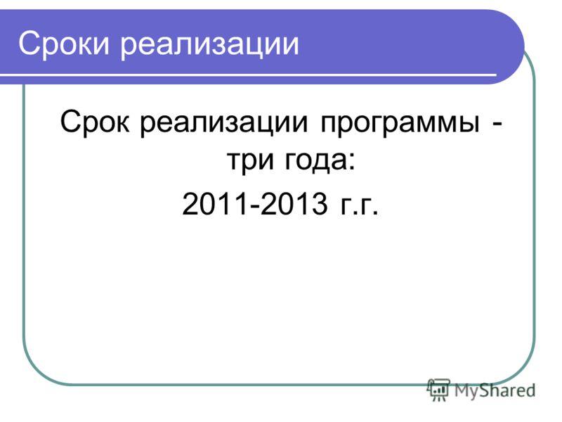 Сроки реализации Срок реализации программы - три года: 2011-2013 г.г.