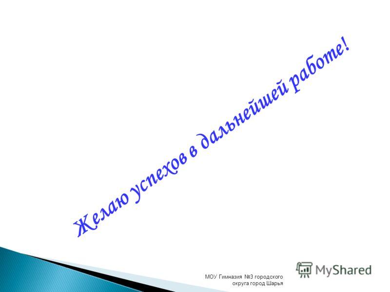 Желаю успехов в дальнейшей работе! МОУ Гимназия 3 городского округа город Шарья
