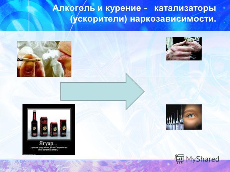 Алкоголь и курение - катализаторы (ускорители) наркозависимости.